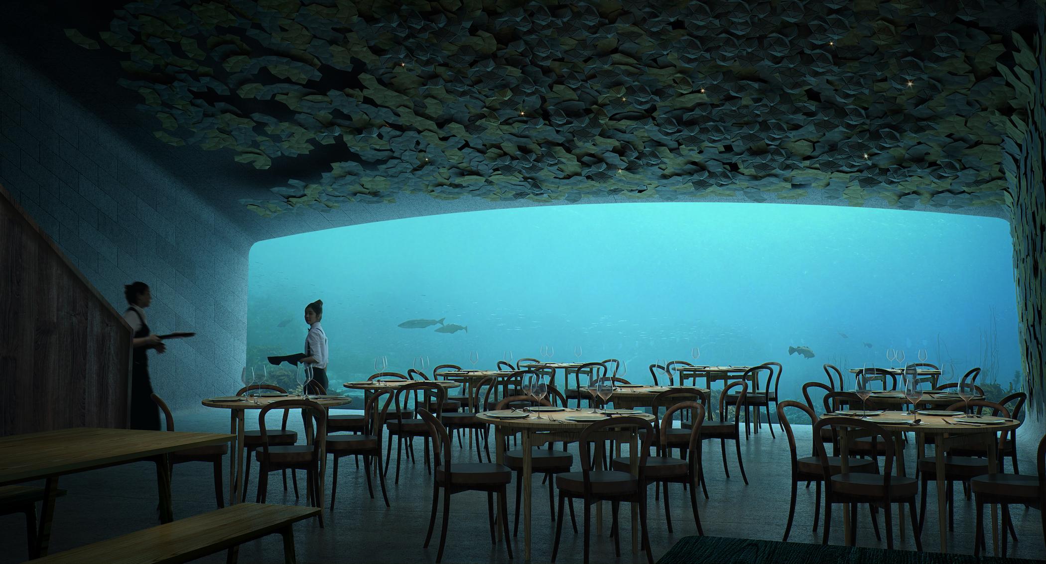 Restaurante Under en Noruega. Proyecto de arquitectura del paisaje de Snøhetta