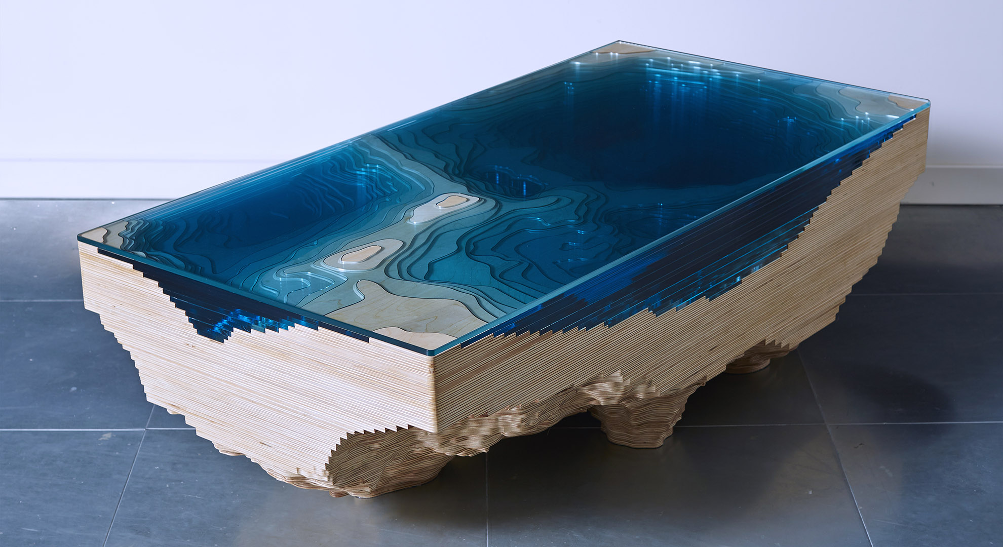 Abyss table by Duffy. Ocean artwork
