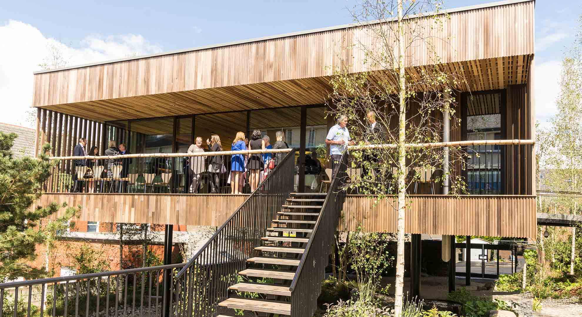 This Maggie's Centre was designed by dRMM Architects with landscaping by Rupert Muldoon