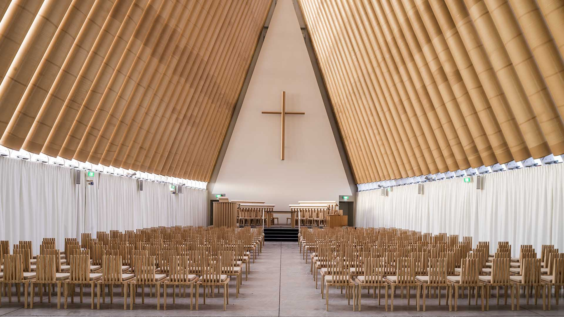 Shigeru Ban's Cardboard Cathedral in Christchurch is an example of temporary building