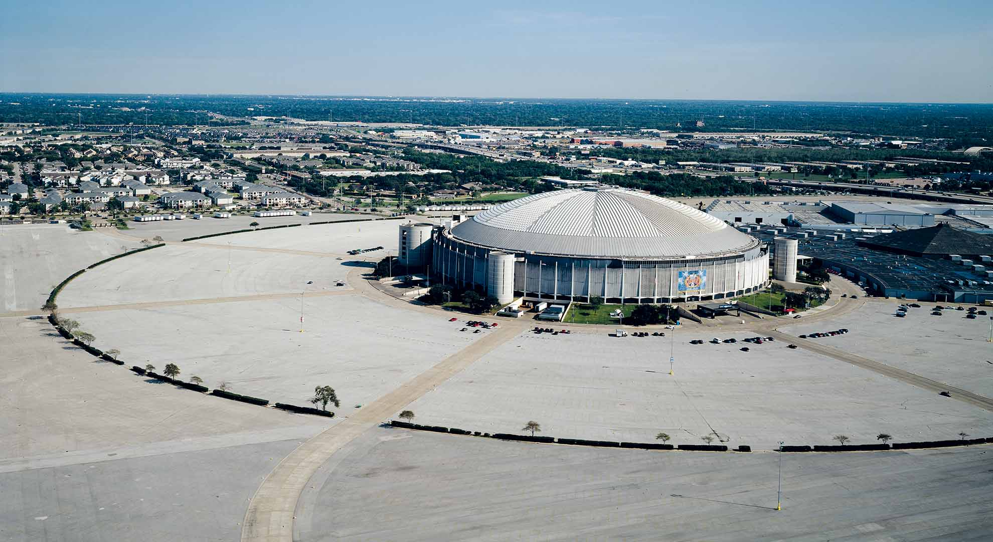 The air-conditioned Astrodome is a modern stadium in Houston
