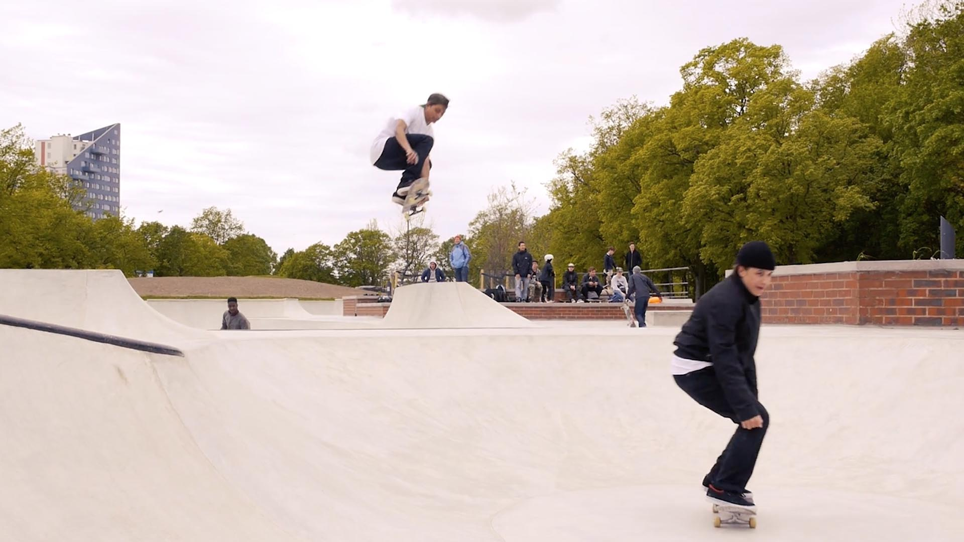 The Bryggeriet skate school in Malmö, Sweden, which features a large skatepark in the middle of its campus
