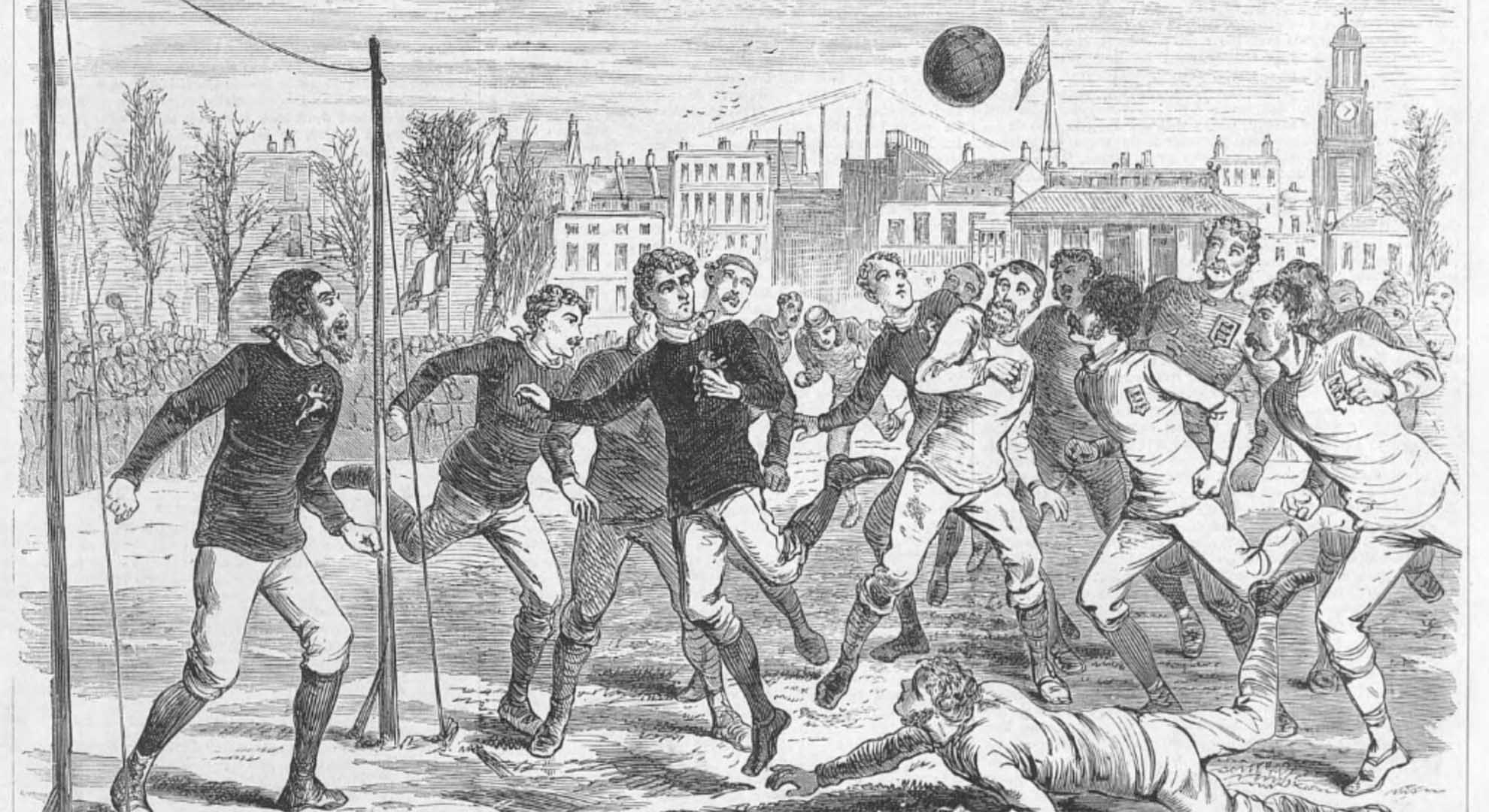 England v Scotland, match played in an ancient field of play in London, 1875