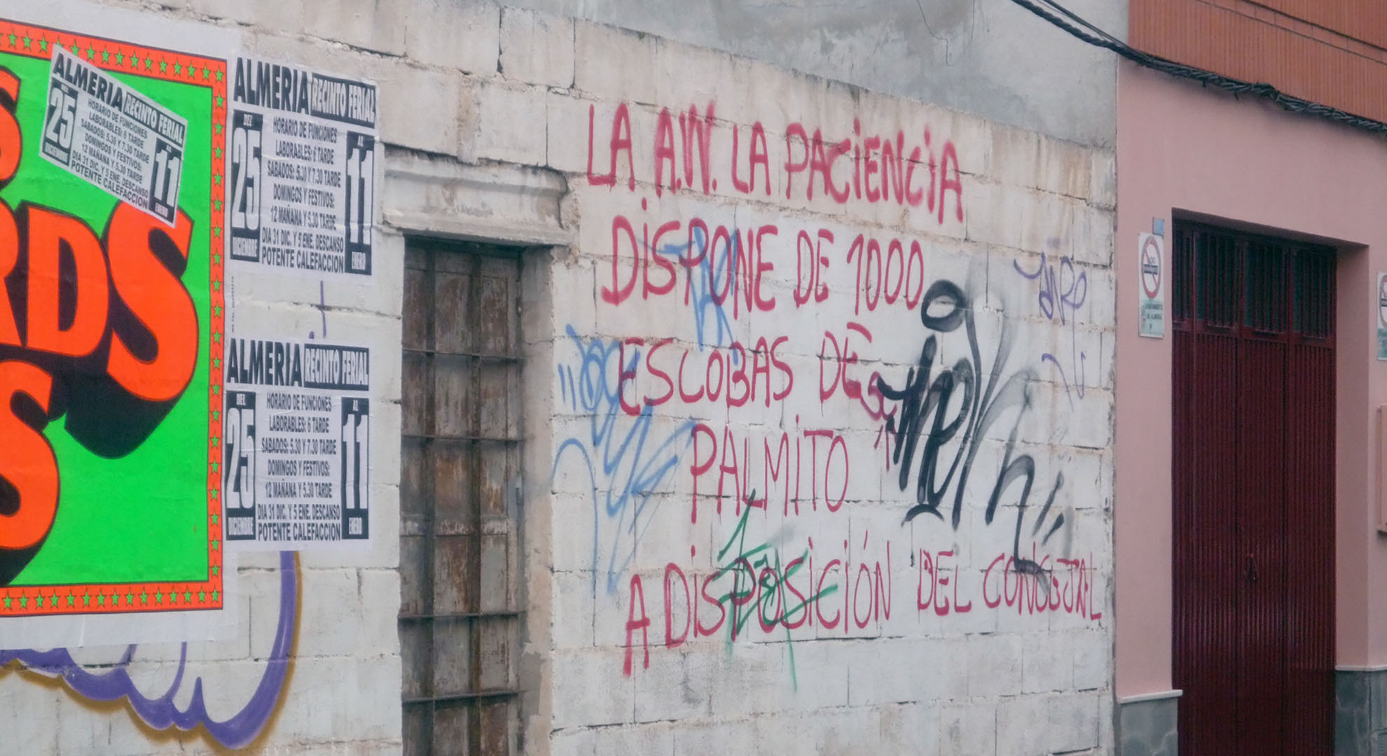 Graffiti in Almería in a pre-gentrified area without civility