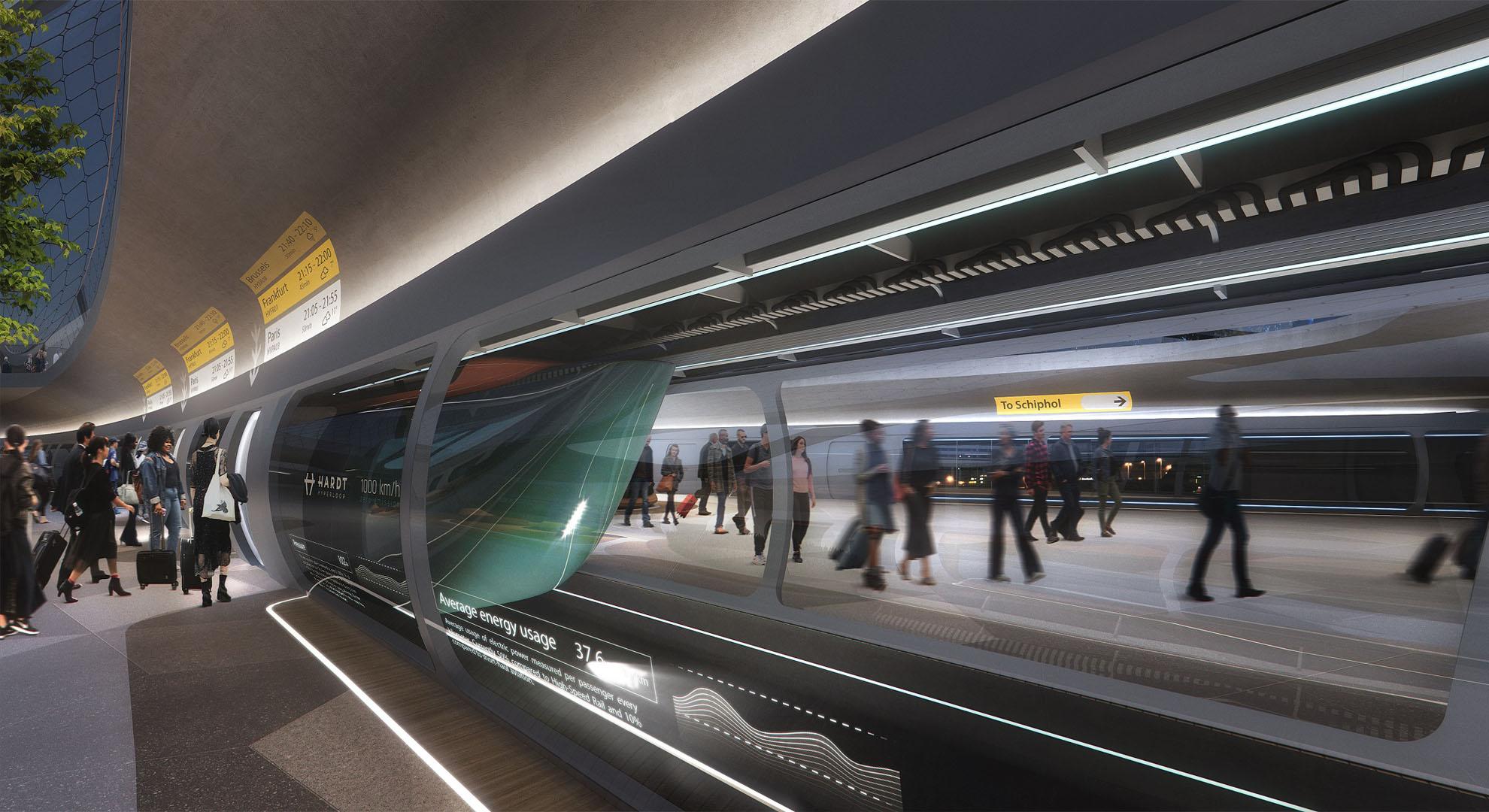 Plataforma Hardt Hyperloop, Aeropuerto Schiphol. UNStudio (diseño de estación), Plompmozes (visualización)