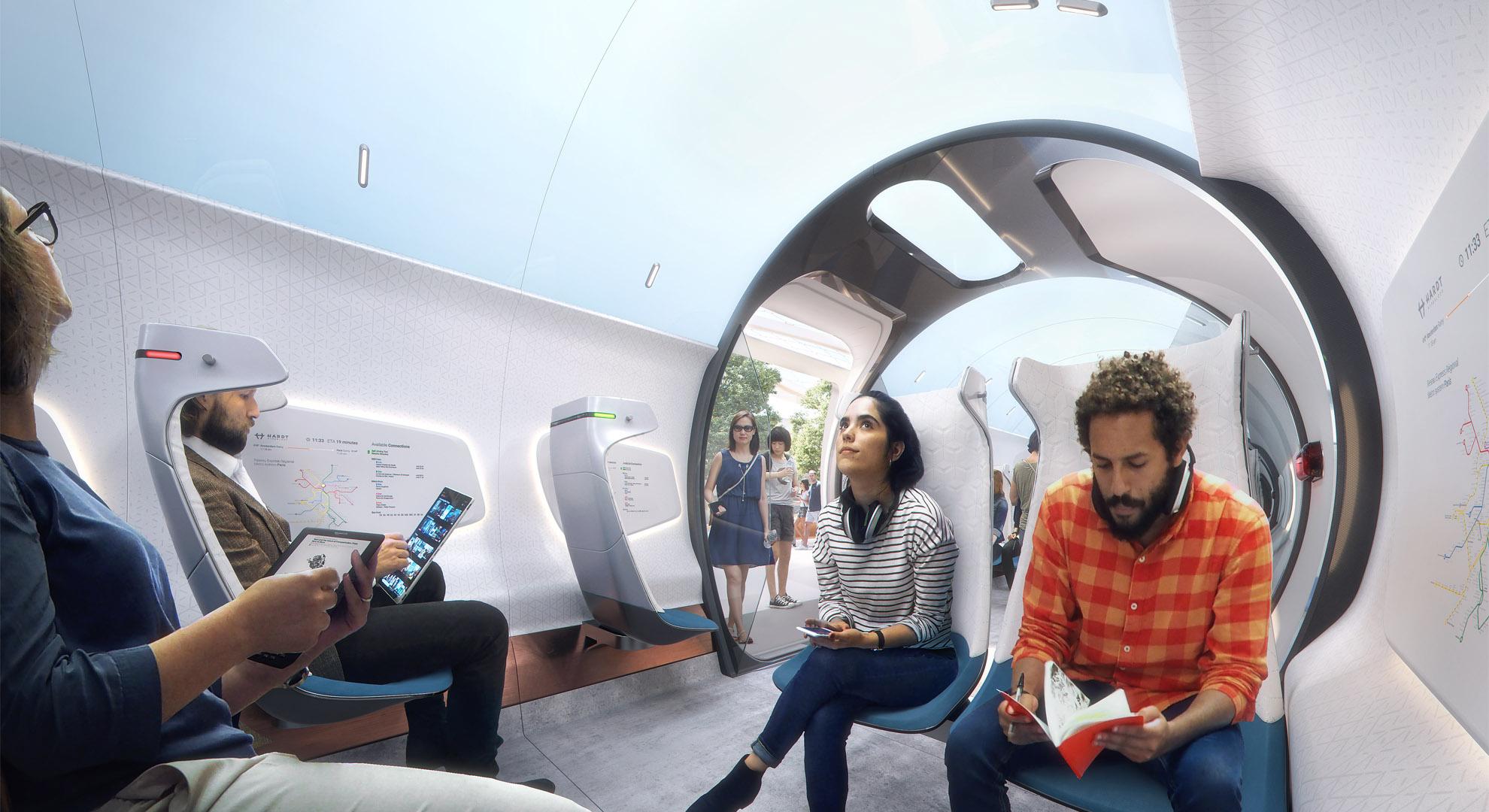 Vehículo Hardt Hyperloop, UNStudio (diseño), Plompmozes (visualización)
