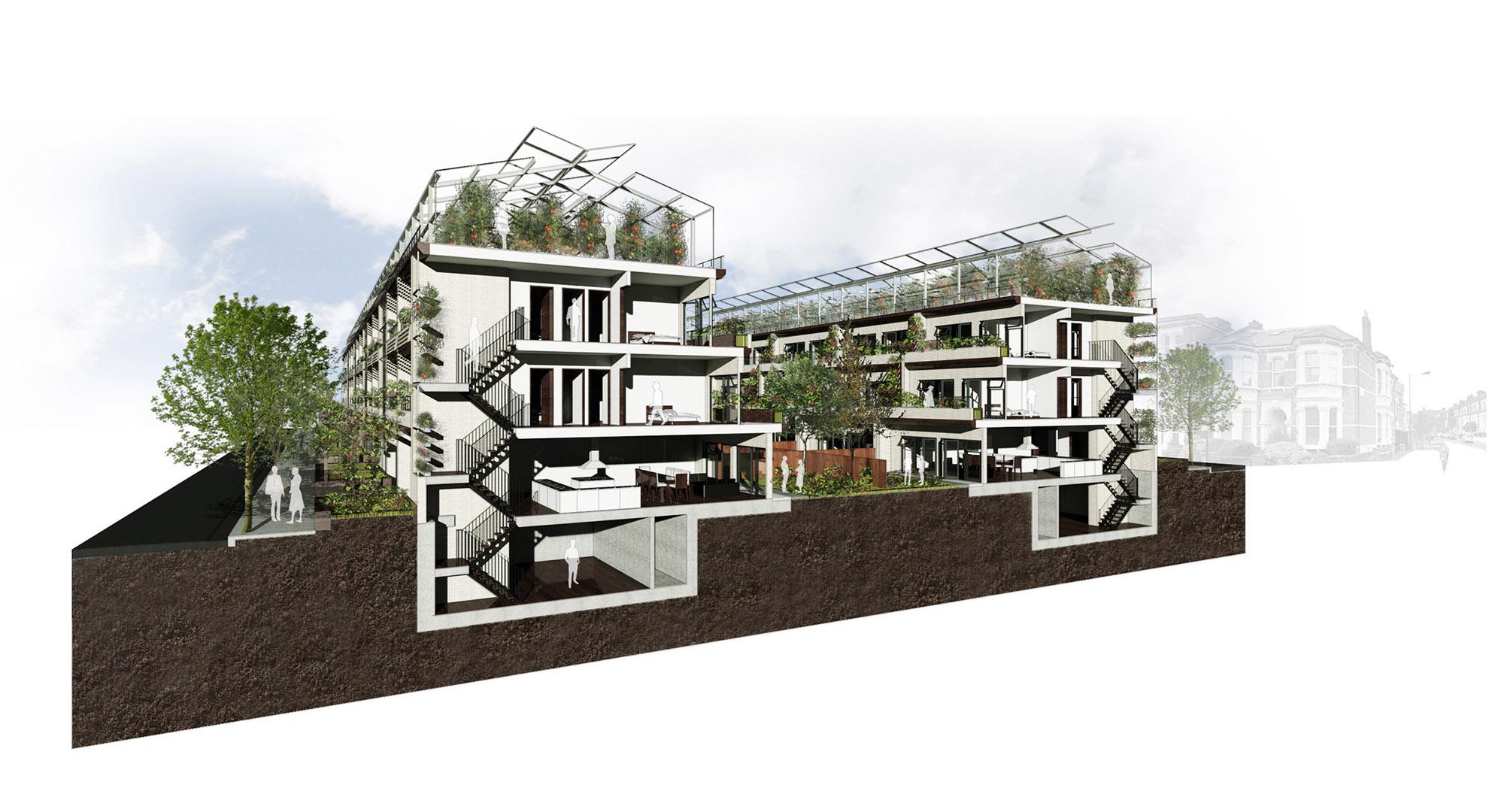 Viviendas adosadas con soluciones de agricultura urbana.